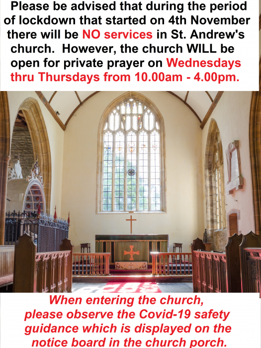 Church Closure In Nov But Yes Private Prayer