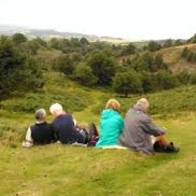 Footpath Walkers Sitting