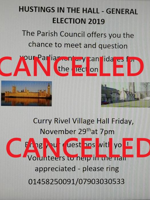General Election Hustings CANCELLED