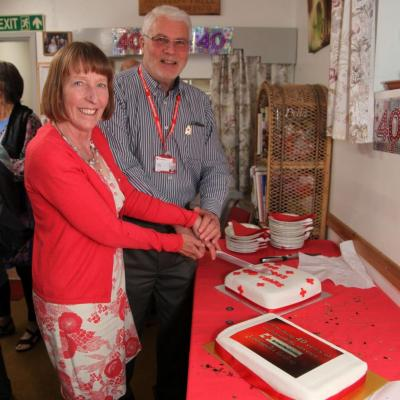 Langport Red Cros Cutting The Centre 39 s 40th Birhday Cake  21st June 2019