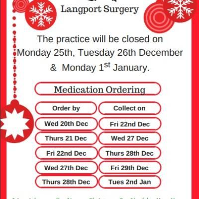 Langport Surgery 2017 xmas schedule