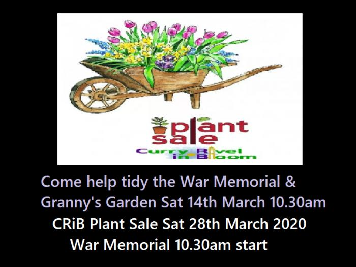 Plant Sale  & Working Party screen  Mar 2020