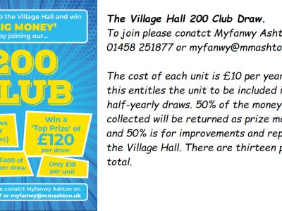 Village Hall 200 club screen