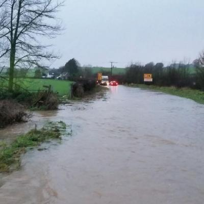 Wrantage FIvehead Flooded Road